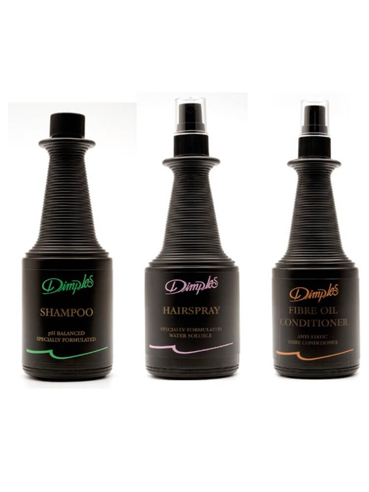 Dimples Shampoo, Fibre Oil Conditioner and Hairspray Combo