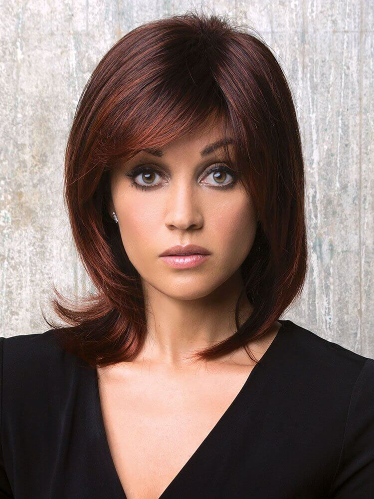 Jade wig - Rene of Paris Hi-Fashion - Front View - Colour Burgundy Rosa