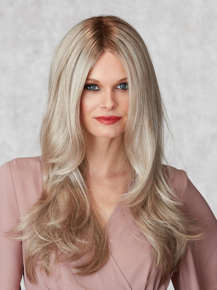 Influence wig - Inspired Collection - Front View shown in colour Platinum Mist Rooted