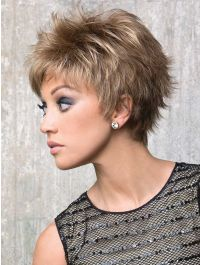 Lizzy wig - Rene of Paris Hi-Fashion - Side View - Colour Mochaccino Rooted